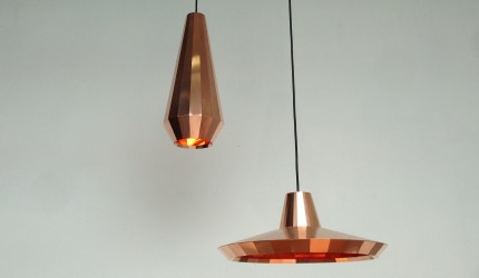 Copper lights + Transience mirrors by David Derksen & Lex Pott
